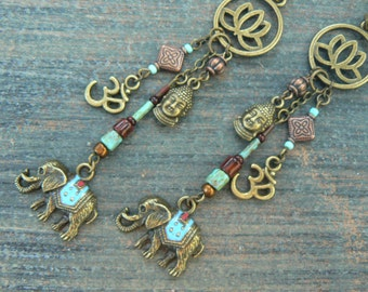 spiritual  ganesha earrings  zen earrings yoga earrings sacred lotus flower buddha earrings elephant  ohm earrings in yoga boho gypsy style