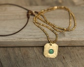 Brass necklace, Brass bead necklace, Leather necklace for women, Leather necklace with pendant, Turquoise pendant,