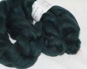 Merino, silk, Deep Teal, blended, spinning fiber, roving, combed top, 4 oz, felting, spinning, spin, felt, #744.
