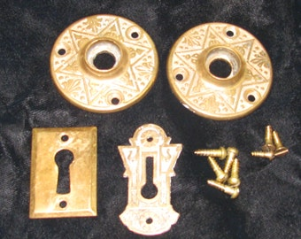 "Matched Set Antique Brass Escutcheons Rossetes 2  1/16"" Diameter & Keyholes  ~ Free Shipping USA"