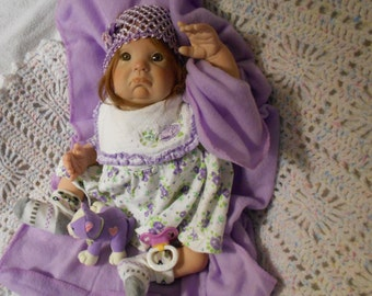 "Reborn Baby Girl, Donna Rubert Muffin Sculpt, Pouty Face, 18"",   German Human Hair, Violet eyes by Babies4U Nursery"