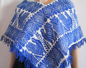 Vintage Mexican Poncho blue roosters green birds fringe poncho