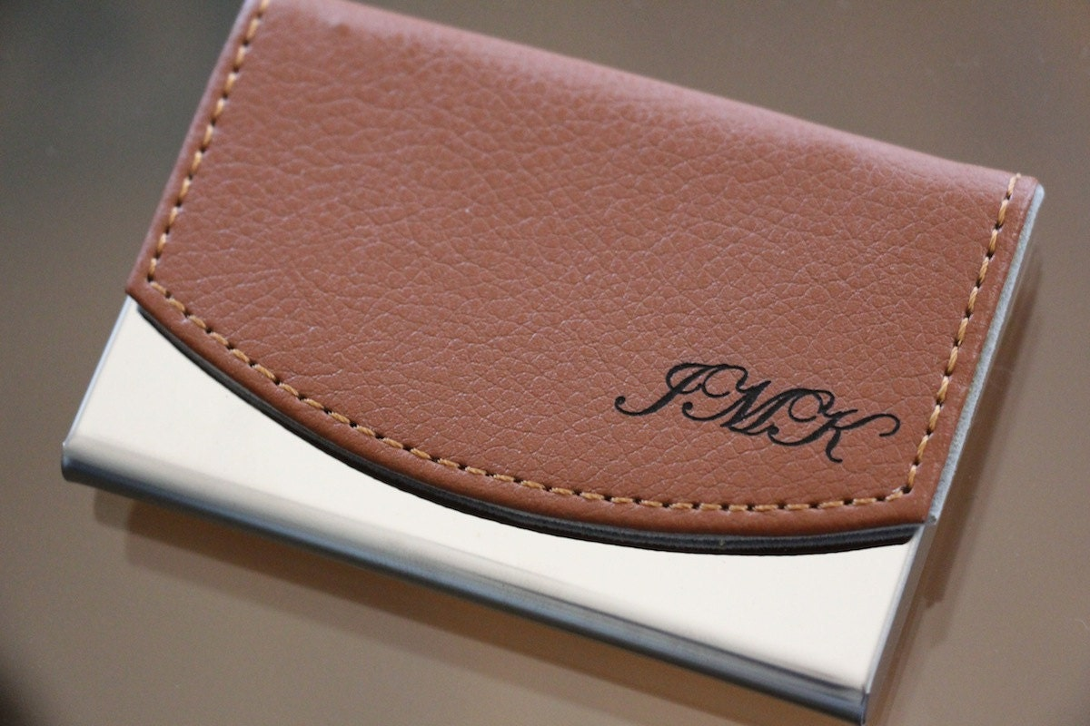 Custom engraved leather business card holder groomsmen gift for Leather business card holder monogram