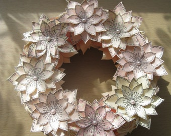 Hand Decorated Pale Pink Paper Flower Wreath 19cm **Free P&P**