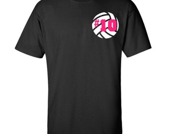Personalized Number Volleyball Shirt, Adult T-Shirt, Sports Number Shirt, Vollyball Monogram Tee