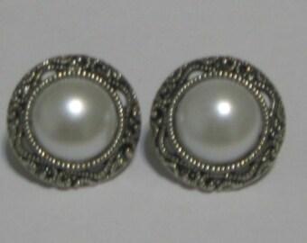 Pearl-look Button Silver Plate Post Earrings