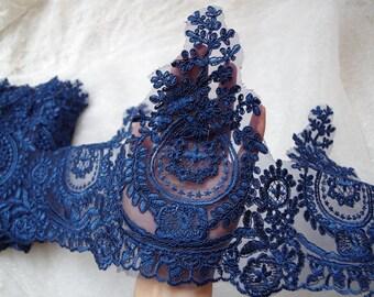 blue alencon lace trim, cord lace trim CG072L