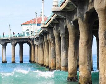 Manhattan Beach Photography, Southern California Pier Ocean Beach Waves Los Angeles Nautical Coastal Vibrant 8x12 Print Art Dramatic
