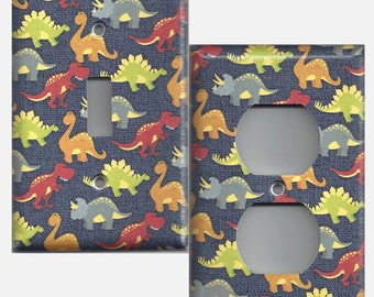 Small Multi Color Dinosaurs Boys Room Light Switchplates and Wall Outlet Covers Home Decor Accents
