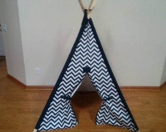 Navy Kids Teepee Navy Chevron Tent with Navy accents Pick your color Navy Play Tent Boys Teepee