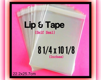 100 ( 8 1/4 x 10 1/8 ) Lip & Tape Cello Bags ..  Clear Bags, Self Sealing, Cello Bags, Adhesive Cello Bags, Adhesive Sleeves