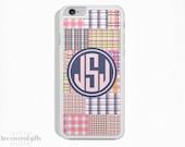 iPhone 6s Case, iPhone 6 Plus Case, iPhone 5s Case, iPhone 5c Case, Pink Madras Plaid, Monogram (198)