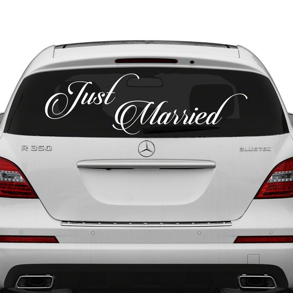 Just married vinyl car decal design wedding cling banner like this item junglespirit Image collections