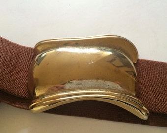 80s Stretch Belt Rust Brown Red Gold Tone Buckle wide Belt Gold Buckle elastic Vintage S