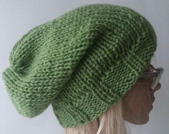 Slouchy Beanie Hat Green Handknit Oversize