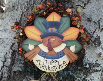 Thanksgiving Turkey Wreath - Door Wood Hanging Decoration - Fall Sign