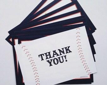 Blank Baseball Thank You Cards - Sport Themed Thank You Cards - Baseball Printed Thank You Cards - Printed Baseball Cards