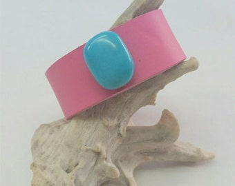Hot Pink Leather Cuff, Pink Cuff with Turquoise,