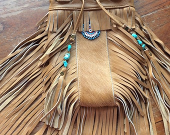 Leather hide fringe bag