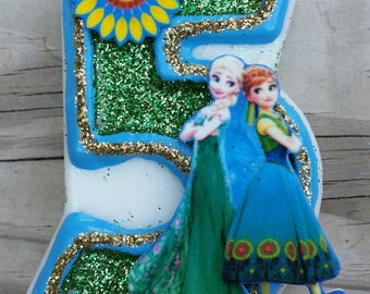 Frozen Fever Candle, Elsa Birthday Candle, Frozen Birthday Candle, Elsa candle, Frozen candle