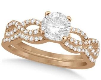 Twisted Infinity Round Diamond Bridal Ring Set 14k Rose Gold (0.63ct)