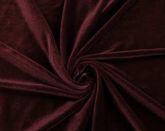 Burgundy Stretch Velvet Fabric by the yard or wholesale  - 1 Yard Style 1001