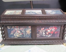 Vintage Merle Norman Jewelry/Gift Box in Brown Plastic with Floral and Landscape Scenery, Retro Renaissance Style T
