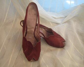 Pair of Vintage Claret Silk Satin Sling Back, Open Toe Shoes, Daniel Green, ca 1930s