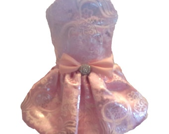 Dog Dress,  Dog Clothing, Dog Wedding Dress, Pet Clothing, Pink and Silver Brocade