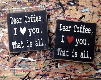 Coffee Word Art ~ Dear Coffee Handpainted Word Art ~ Handpainted Typography