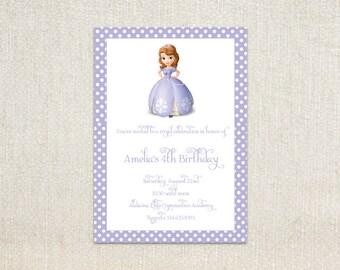 Sophia the First purple princess girls birthday party invitations