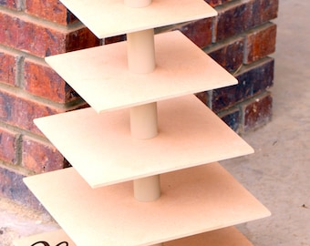 6 Tier Cupcake Stand Tower MDF Wood Approx 90 Standard Cupcakes Birthday Stand Wedding DIY Project