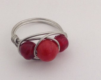 Red Wire Wrapped Ring, Size 10