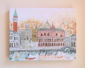 Piazza San Marco Venice Art, Watercolor Italy Canvas Print, Grand Canal Painting, Venetian Palace Wall Decor, Signed Giclee, Clare Caulfield