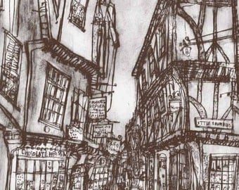THE SHAMBLES YORK Art York Architecture England, Limited Edition Print, Drypoint Art, Clare Caulfield, Shambles Drawing, Yorkshire Print,