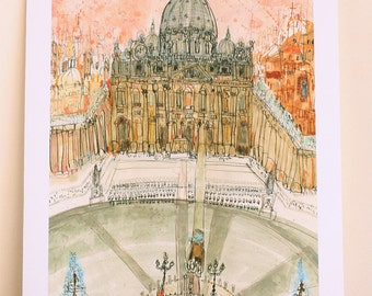 ROME ART PRINT, St Peters Square Rome Watercolor Painting, Vatican City Rome Wall Art, Rome Basilica, Italian Home Decor, Signed Print