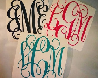 """Sheet of TWO 4"""" MONOGRAMMED DECAL Permanent Adhesive Vinyl"""