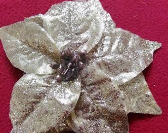 Glittery Gold Christmas Poinsettia Hairclip