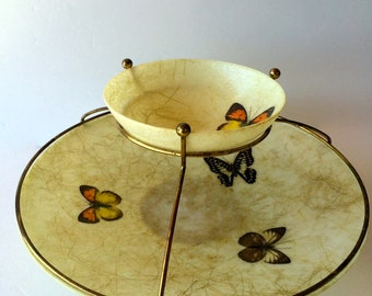 Chip & Dip Serving Bowl Butterfly Tiered Bowls Mid-century Serving Trays Dip Chip Set Fiberglass Mid-Century Serving Bowl Bohemian Party