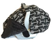 Gender Neutral Carseat Canopy, Black Carseat Canopy, Arrow Carseat Canopy by BizyBelle