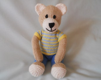 Hand Knitted Classic Teddy Bear, Tommy the dressed bear baby, child, gift