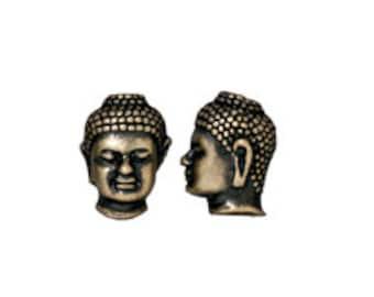 5 Pc Buddha Bead 13.5x10mm Oxidized Brass Finish Tierracast Large Hole Beads - P5718BO