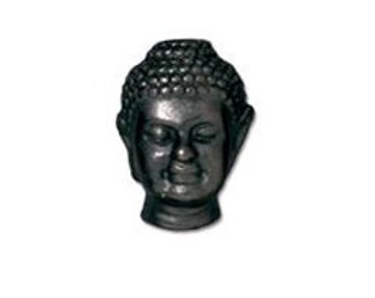 5 Pc Buddha Bead Black Buddha Bead 13.5x10mm Tierracast Large Hole Buddha Beads, Lead Free pewter  - P5718BK