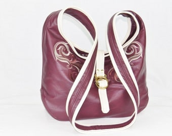Large Leather Cross Body - Plum Leather Hobo - Genuine Leather Slouchy Purse - Women's Oversize Satchel