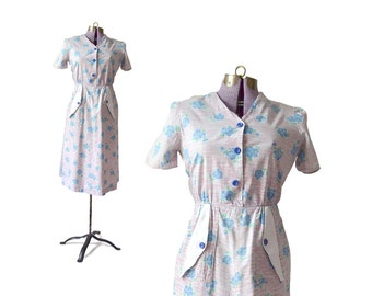 1940s Housewife Dress / 40s Dress / Cotton Dress / Womens Dress / Vintage clothing / Womens Clothing