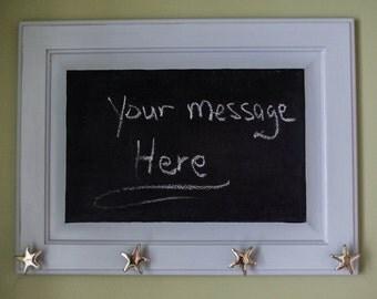 SHABBY CHIC CHALKBOARD with coat hooks, Twilight Gray mud room chalkboard, Gray Coat Rack Chalkboard