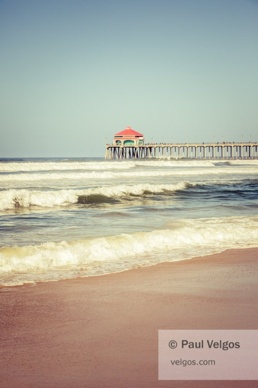 Huntington Beach Wall Decor : Huntington beach pier art print retro