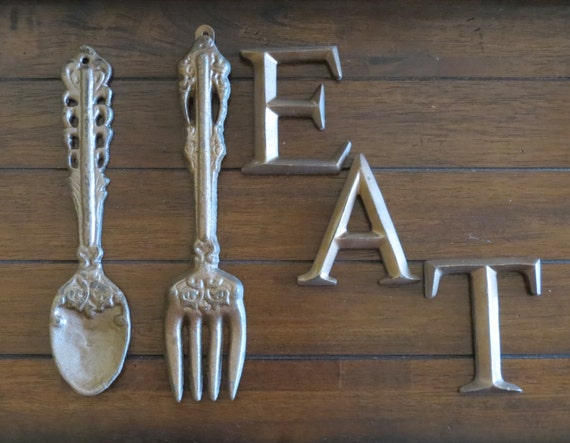 Shabby chic kitchen dining room wall hanging oversized fork for Shabby chic dining room wall art