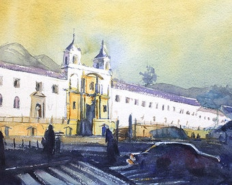 Catholic monastery- Old Town Quito, Ecuador at sunrise.  Watercolor print Quito Ecuador.  Quito Ecuador painting fine art landscape wall art