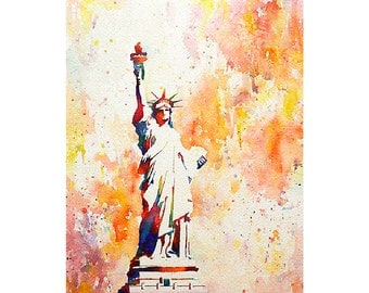 Statue of Liberty on Liberty Island in New York Harbor- New York.  Statue of Liberty painting. Watercolor Statue of Liberty.  NYC artwork